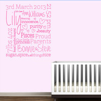 Baby birth announcement print typography wall decal sticker