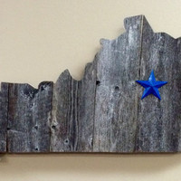 Kentucky State Shape Rustic Wood Sign Hanger UK Wildcat Blue Star - Two Sizes