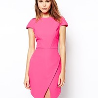 ASOS Dress in Bonded Crepe with Asymmetric Hem