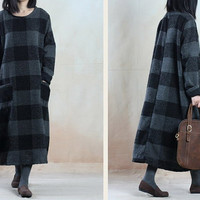 Women cotton dress maxi dress Casual dress/Loose Fitting dress/Long Sleeve dress autumn clothing plus size dress