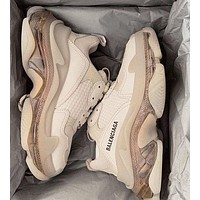 Balenciaga Daddy shoes Balenciaga Tripe-S air cushion crystal Apricot