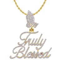 Truly Blessed 10K Gold Praying Hand Diamond Pendant Chain