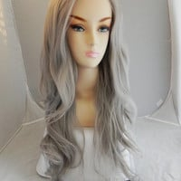 HALLOWEEN SALE // Lace Front Wig, Silver Grey Hair, Long Wavy Natural Hair, Full Body Curly
