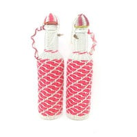 Spanish Wrapped Decanters / Set of 2 Woven Hot Pink Vintage Bottles with Lids / Unique Collectibles / Retro Bar Cart Accessories / Spain