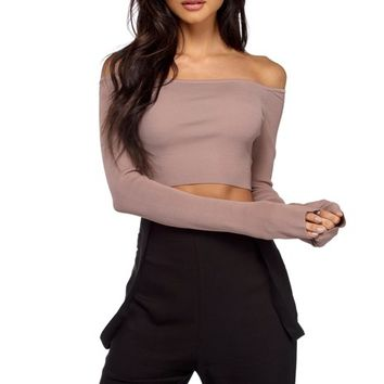 Taupe Come Over Crop Top