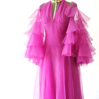 Vintage Pink Marilyn Halter Dress - Pink Ball Gown Wedding Dress - Vintage 1960s Halter Evening Gown - Haute Couture Gown - Red Carpet Dress