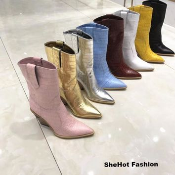 Women Fashion Mid-Calf Genuine Leather Western Chunky Wedge Boots