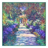 The Garden Path in Giverny inspired by Claude Monet's impressionist painting Counted Cross Stitch Pattern