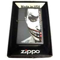 Zippo Custom Lighter - Half Scary Painted Clown Face - Regular Black Matte 218CI401822