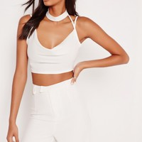 Missguided - Cowl Choker Crop Top White