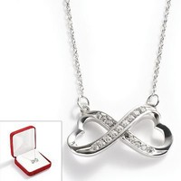 10k White Gold .1-ct. T.W. Diamond Infinity Heart Pendant