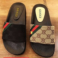 GUCCI Double G Letter Print Slant Green Red Striped Bee Slipper Sandals Shoes