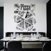 ik1024 Wall Decal Sticker pizza ingredients Pizzeria Italian Restaurant