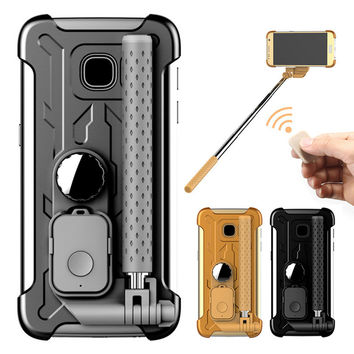 Cell Phone Case Selfie Stick Phone Hard Cover For Samsung Galaxy S7,S7 Edge w Bluetooth Remote