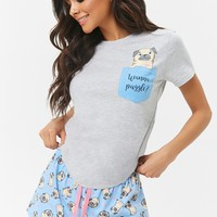 Pug Pocket Tee & Shorts Pajama Set