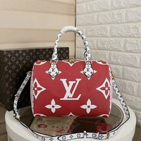 hcxx 1008 Louis Vuitton LV Neverfull Shopping Bag Daier Azur Canvas Handbag 32-29-17cm White Red