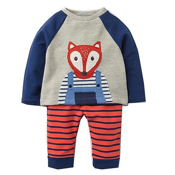 Boys Set with Animal Applique Sweatshirt+Pants Autumn Winter Children Clothing Sets Kids Back to School Outfit Baby Boys Clothes
