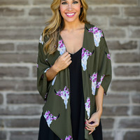No Bull About it Kimono in Olive