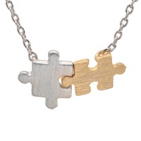Handcrafted Brushed Metal Matching Puzzle Piece Necklace