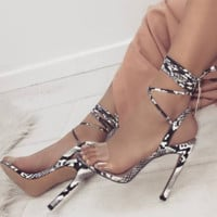 Hot style sexy lace-up Jane word with snake print heels