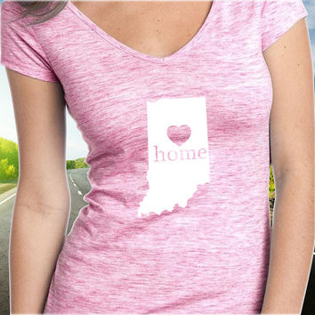 Indiana Home T-Shirt - V-Neck - State Pride - Home Tee - Clothing - Womens - Ladies