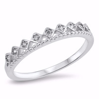 Sterling Silver CZ Simulated Diamond Crown Tiara Ring