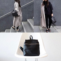 new hot women PU leather backpack female fashion simple black small travel bags