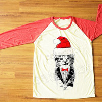 Merry Christmas TShirt Wink Cat T-Shirt Cat Suit&Tie Shirt Animal Shirt Red Sleeve Women T-Shirt Men T-Shirt Unisex Tee Baseball Tee S,M,L