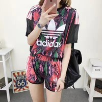 """Adidas"" Women Casual Fashion Multicolor Snake Print Gauze Short Sleeve Shorts Set Two-Piece Sportswear"