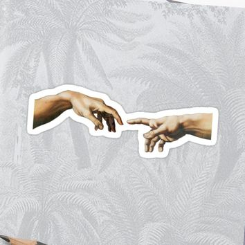 'the creation of adam' Sticker by ausketches