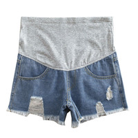 Summer Maternity Denim Shorts Fashion Jeans Elastic Waist Maternity Shorts Cotton Maternity Pants For Pregnant Women FCI#