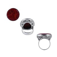 """SR-110-CRR-8"""" Sterling Silver Ring With Coral"""