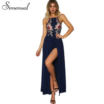Simenual Elegant embroidery flowers summer long dress beach backless sexy maxi dresses women sleeveless vintage halter dresses
