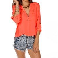 Neon Coral 3/4 Sleeve Top