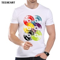 Men's Colorful Record Printed Designer T-Shirt Cool Summer Modal  Music Graphic Top Tees