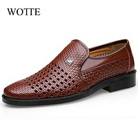 WOTTE Spring Men Loafers Leather Men Shoes Summer Hollow Breathable Oxfords Man Casual Shoes Slip On Formal Dress Shoes For Man