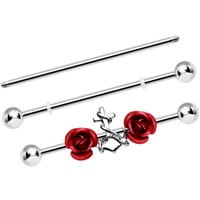 Red Roses Anchor Adjustable Interchangeable Industrial Barbell Set | Body Candy Body Jewelry
