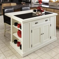 Nantucket Kitchen Island and 2 Stools at Brookstone—Buy Now!