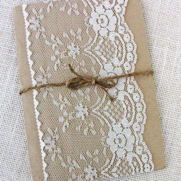 Shabby Chic Vintage Lace Pocket Wedding Invitation