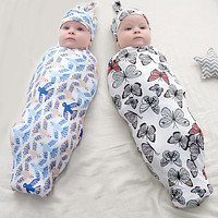 Hot-selling baby swaddling wrapper three-piece full moon set with anti shock high elasticity and soft full moon for newborn photography