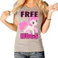My Little Pony Pinkie Pie Free Hugs Juniors Gray T-shirt - My Little Pony - Free Shipping on orders over $60 | TV Store Online