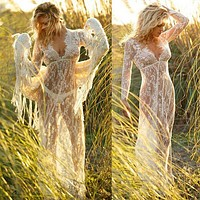 Fashion Perspective Embroidery Hollow Lace Deep V Long Sleeve Maxi Dress Smock