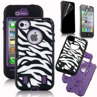 Pandamimi ULAK(TM) Hard Hybrid Case Cover Black White Zebra Black Silicone TUFF case for Apple iPhone 4 4S + Front and Back Screen Protector