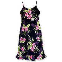 Midnight Black Kamalii Hawaiian Dress