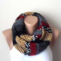 gray red brown black knit infinity scarf multıcolor  circle scarf