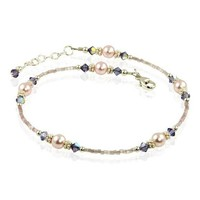 Tanzanite Mauve Pink Pearl Beaded Anklet
