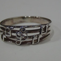 Sterling Silver 925 Musical Notes Ring