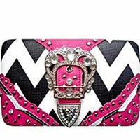 Chevron Western Rhinestone Buckle Flat Wallet Clutch Purse