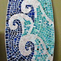 Stained Glass Mosaic Surfboard 5ft  Wall Art on Wood Base. Made to Order - Beach Waves