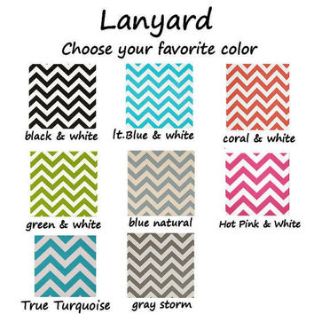 Lanyard ID Badge Holder - CHEVRON - choose your favorite color - Lobster clasp and key ring